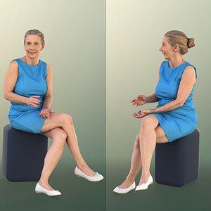 3D woman elderly sitting
