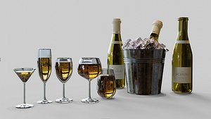 3D champagne glass model