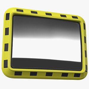 3D Rectangular Industrial Safety Mirror model