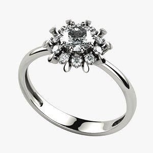 3D 5mm Gemstone Gothic Flower Gold Ring