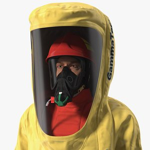 3D Heavy Duty Chemical Protective Suit Yellow Rigged