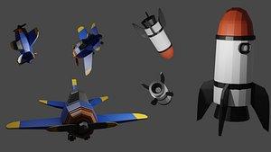 3D modeled plane rocket model