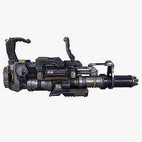 Sci-fi Minigun Gatling Gun Machine Gun Heavy Gun with Zbrush files
