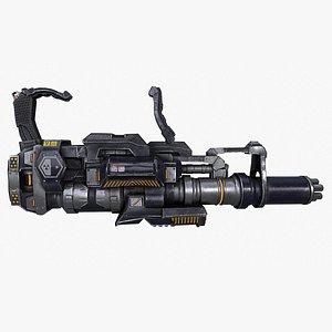 minigun gatling gun machine 3D model
