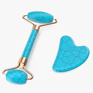 3D model Gua Sha Face Lifting Massager Tools Turquoise