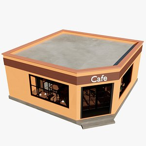 Cafe Restaurant Building With Furniture 3D