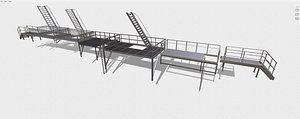 3D Fire ladders and platforms model