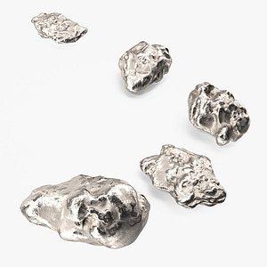 3D Metallic Silver Small Minerals