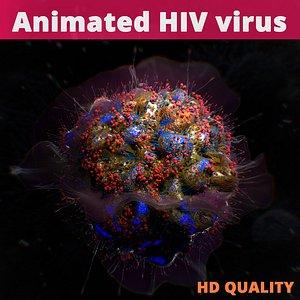 Animated HIV virus Human Immunodeficiency Virus 3D model