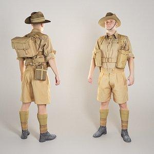 3D australian infantryman character world war