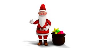 3D model Cartoon Santa Claus with unity package