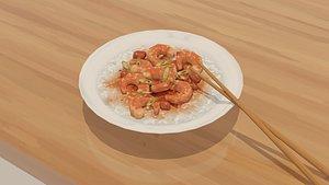 3D low-poly shrimp pot dish model