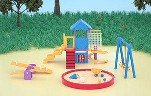Slide climbing cartoon scene slide amusement equipment Children s playground early education center 3D model
