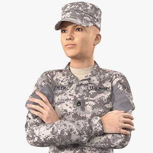 Female Soldier Military ACU Uniform 3D model
