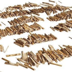 3D model 040 Firewood Logs 03 Scattered Firewood logs