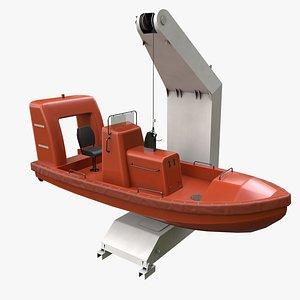 3D davit boat ship motor