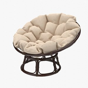 Papasan Chair Dark Rattan with Beige Cushion 3D model
