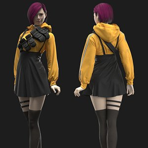 Female Modern Outfit2 Marvelous Designer project 3D model