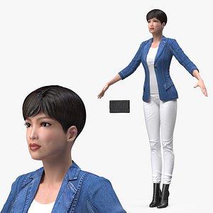 Asian Street Fashion Woman T Pose 3D