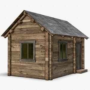 rustic log cabin wooden house 3D model