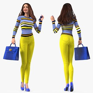 3D Young Woman Fashionable Style Rigged for Modo model