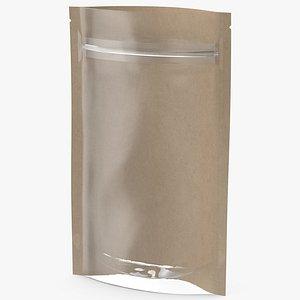 3D model Zipper Kraft Paper Bag with Transparent Front 50 g Open Mockup