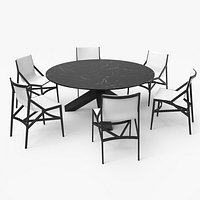 Cassina Dining Table Chair Set Black Marble White