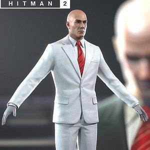 3D Hitman 2 White Suit Agent 47 model