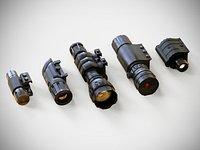 Rail Attachments Pack - Laser Sights - Flash Lights - PBR - Weapon - Gun - Rifle – Pistol