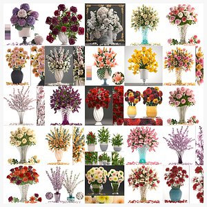 3D Collection of bouquets 30 pieces model