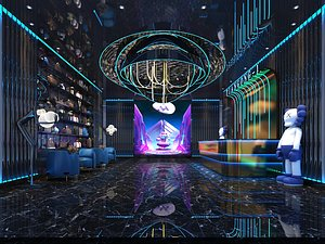 3D KTV bar entertainment club Science fiction science and technology sense front counter bar