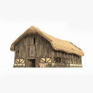 large ancient thatched 3D model