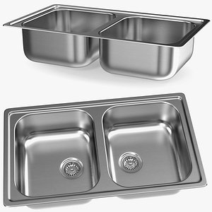 Double Bowl Integrated Kitchen Sink model