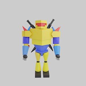 3D Low Poly Action figure robot