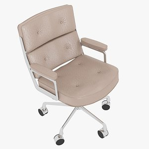 3D Eames Executive Chair Chrome Frame Beige Leather