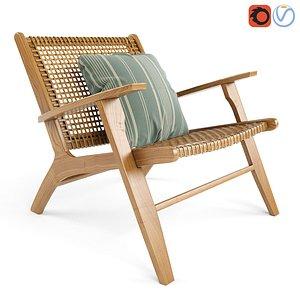 Wicker Rattan Noon Deck Chair 3D model
