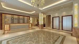 hotel lobby scene interior 3D model