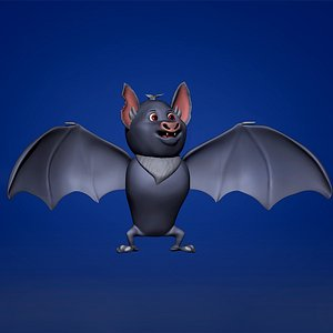 Cartoon Grey Bat 3D model