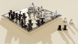 3D model metal chess set
