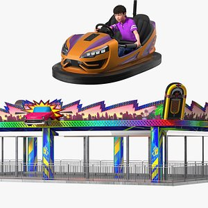 3D Bumper Cars Platform with Boy Rigged Collection
