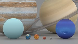 planets scale 3D model