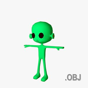 3D Alien ET Male- OBJ - Low Poly Quad model