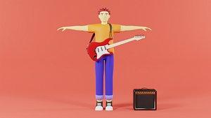 rocker man cartoon 3D