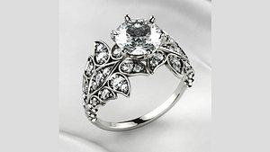 3D 7mm Diamond Gold Ring