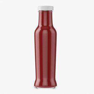 Barbecue sauce in glass bottle 05 3D model