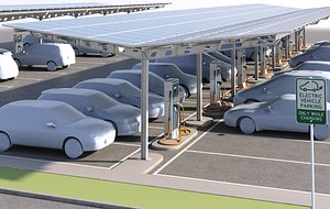 3D model solar battery charging parking