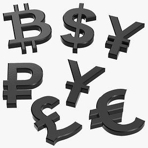 currency symbols plastic set 3D model