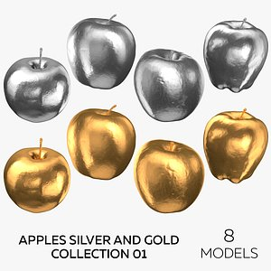 3D model Apples Silver and Gold Collection 01 - 8 models