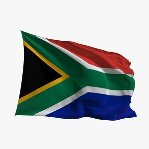 Realistic Animated Flag - Microtexture Rigged - Put your own texture - Def South Africa 3D model