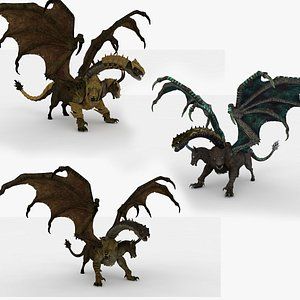 3 in 1 Chimera Rigged and Animated 3D model